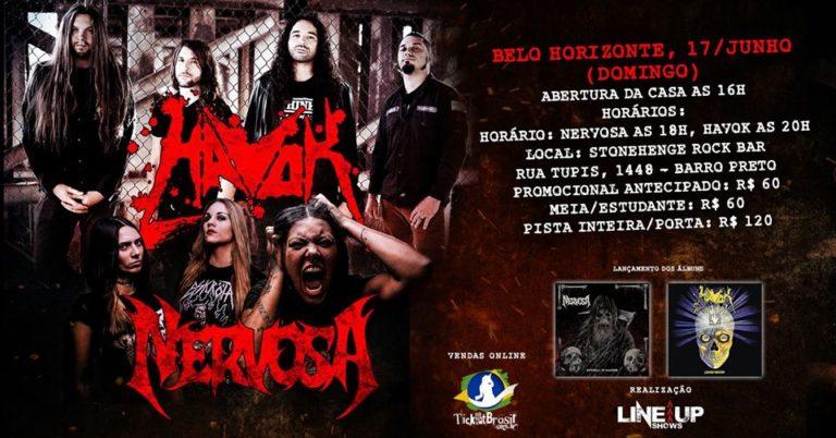 Havok e Nervosa dividirão palco em Belo Horizonte. Saiba mais sobre os shows!